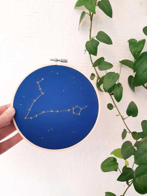 Déco, broderie, constellation, étoiles, signes du zodiaque