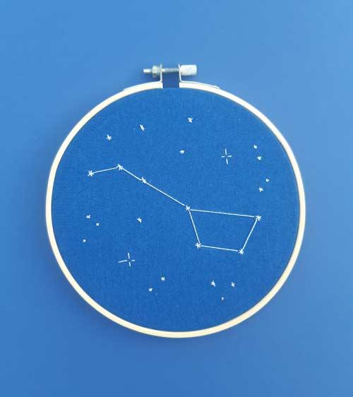 Déco, broderie, constellation, étoiles, Les Étoiles Filantes